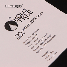 High quality 80gsm 75 cotton 25 linen paper without watermark and business paper white color LYYT034