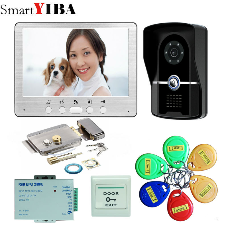 SmartYIBA 7 Color Video Door Phone Video Intercom 1 Monitor Doorbell Camera Intercom Kit ...