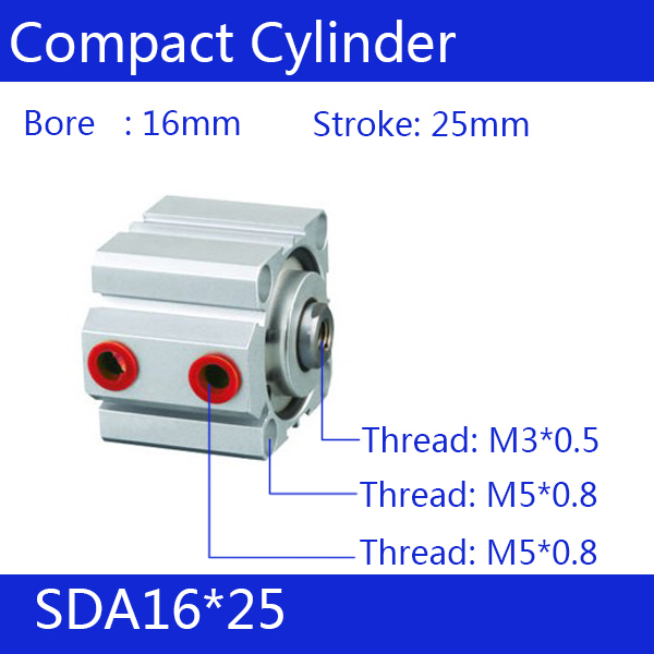 SDA16*25 Free shipping 16mm Bore 25mm Stroke Compact Air Cylinders SDA16X25 Dual Action Air Pneumatic Cylinder SDA16-25 free shipping 50mm bore 25mm stroke pneumatic compact cylinder double action sda 50 25 aluminum alloy thin type air cylinders