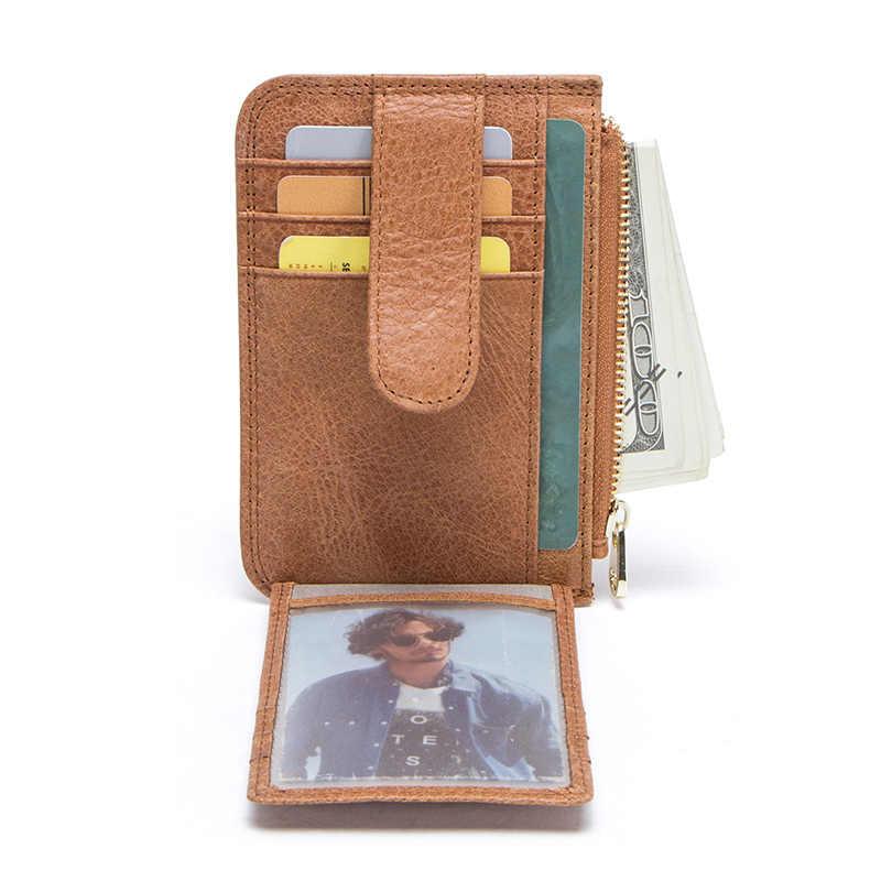 CONTACT'S 100% prawdziwej skóry nowe karty portfel cienki posiadacze kart kredytowych na co dzień człowiek portfele z saszetką na monety kieszeni koszuli męskiej mini torebka