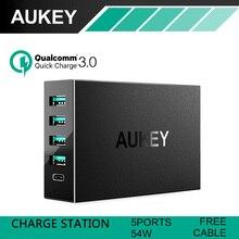 Aukey 5-puertos usb cargador con aipower adaptativa 3.0 tecnología de carga rápida para el iphone, ipad air2, mini 3, GalaxyS6, S6 Edge 54 W
