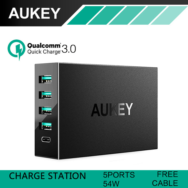 AUKEY QC 3.0Wall charger with Aipower Adaptive Quick Charging Tech 54W 5 USB-Ports Charger for iPhone 7 iPad Air2 GalaxyS6 Edge