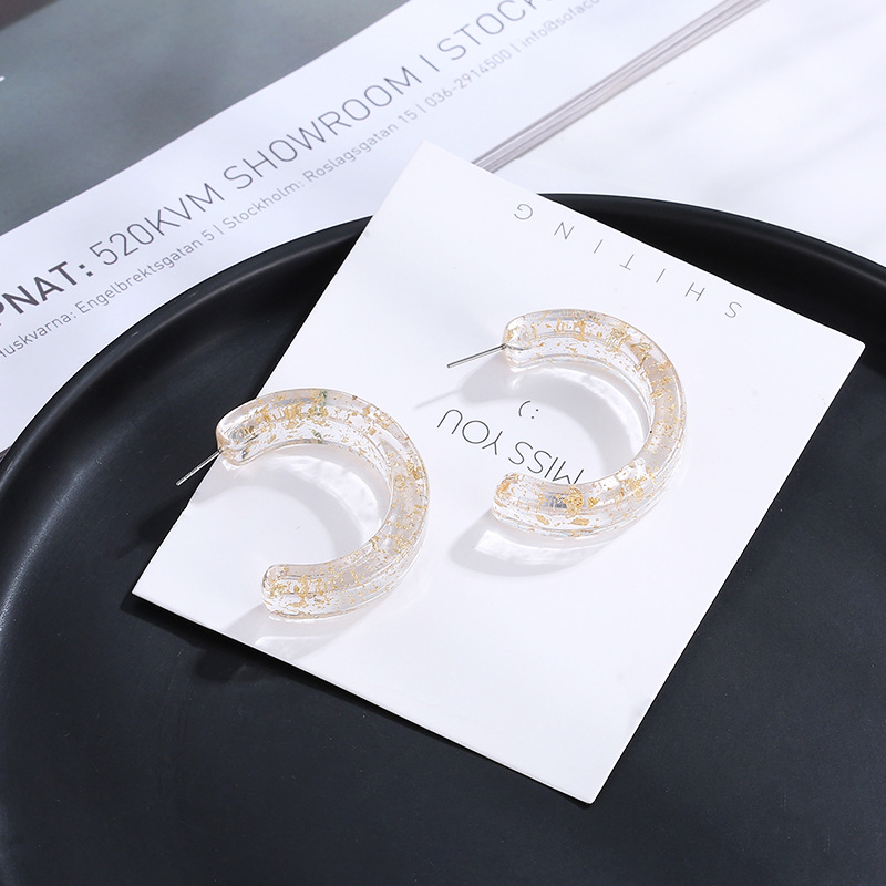 2019 Korean cold acrylic earrings transparent gold flash with acetic acid geometric temperament for woman C earrings in Drop Earrings from Jewelry Accessories