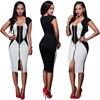 Europe And The United States The New Zipper Sleeveless Dress Black And White Stitching Sexy Nightclub