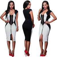 Europe And The United States The New Zipper Sleeveless Dress Black And White Stitching Sexy Nightclub