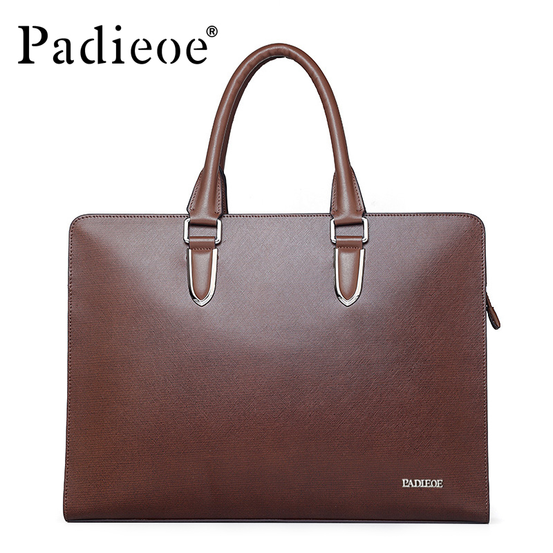 Padieoe Business Brand Documents Bag Fashion Men Genuine Leather Men's Hard Briefcase For Documents Laptop Tote Bag For Male