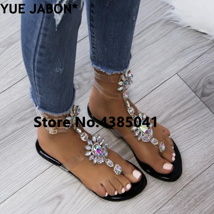 HTB1y7z1rOCYBuNkHFCcq6AHtVXaA 2019 shoes woman sandals women Rhinestones Chains Flat Sandals Thong Crystal Flip Flops sandals gladiator sandals 43 free ship