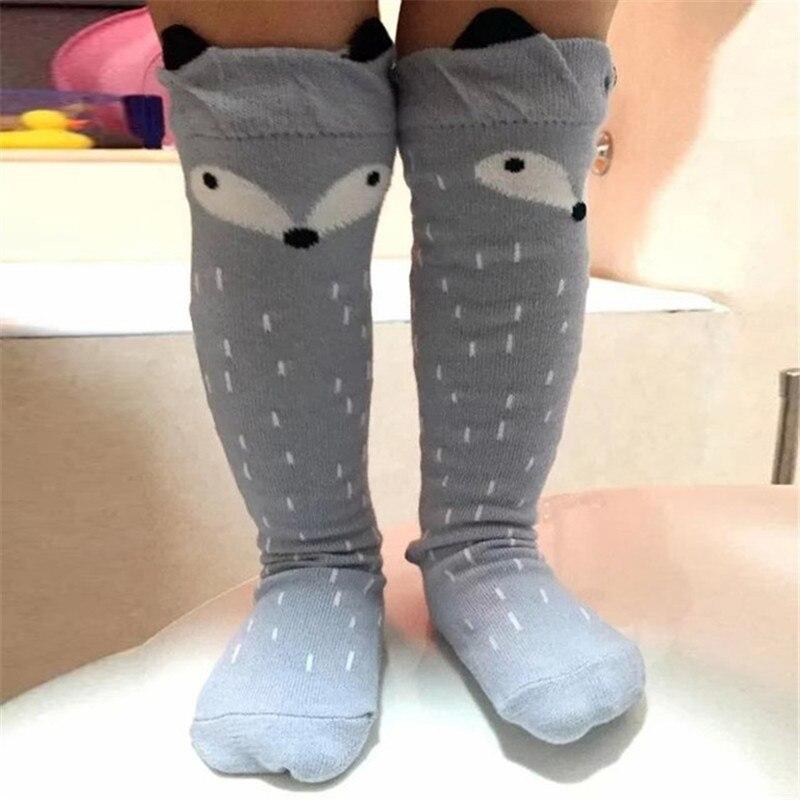 Cotton Baby Socks Animal Printed Knee High Kids Boy Girl Socks Anti Slip Cartoon Cat Leg Warmers 0-6Y Infant Warm Long Sock