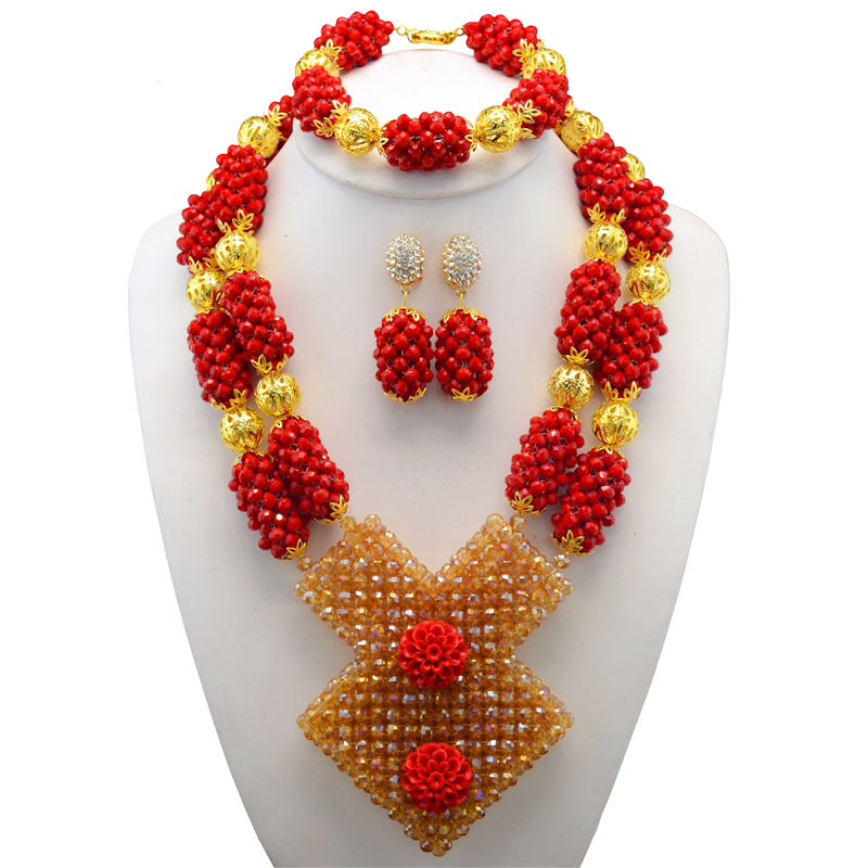 Online Shop Latest African Wedding Nigerian Beads Jewelry Sets Red ...