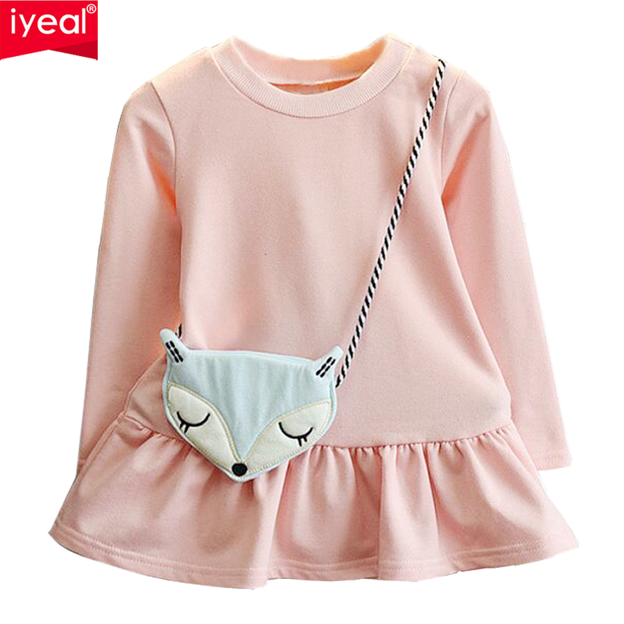 IYEAL Girls Dress 2018 Spring Long Sleeve Casual Cotton Kids Girl Clothes Cute Fox Pattern Bag Children Baby Clothing For 2-7Y цена 2017