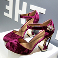 Europe Retro Mary Jane Shoes Woman Round Toe Crystal Belt Buckle Women High Heels Velvet Shoes 2017 Spring Fashion Ladies Pumps