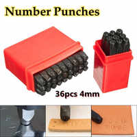 36pcs/set 4mm New Stamps Letters Alphabet Numbers Punch Set Wood Leather Steel Punch Tool Leather Craft Stamp