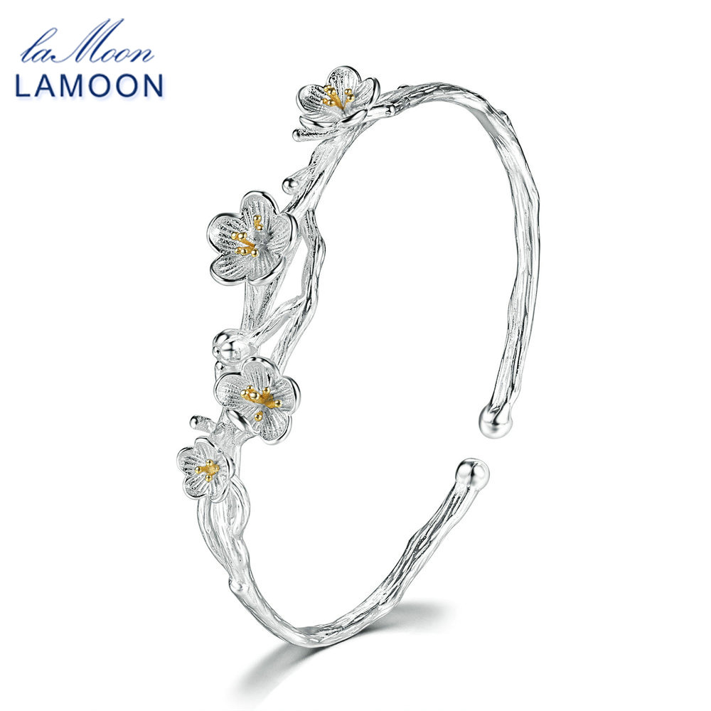 LAMOON Drahtziehen 2 Farben Pflaume Blume S925 Armband & Armreif 925 ...
