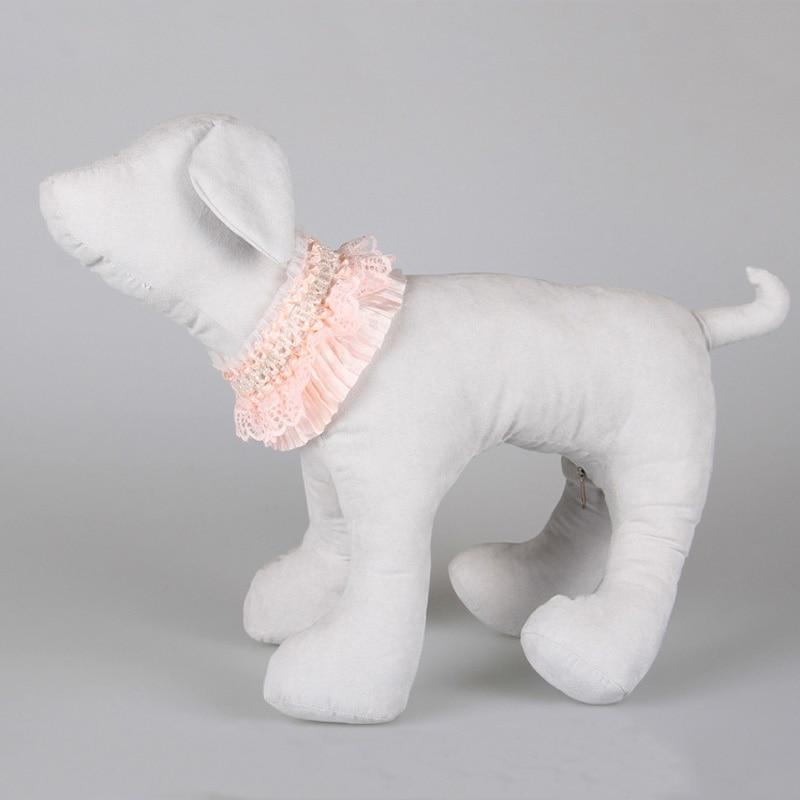 5 unids/lote Rosa de Encaje de Perlas Collar de Perro Escalable Perrito Del Gato