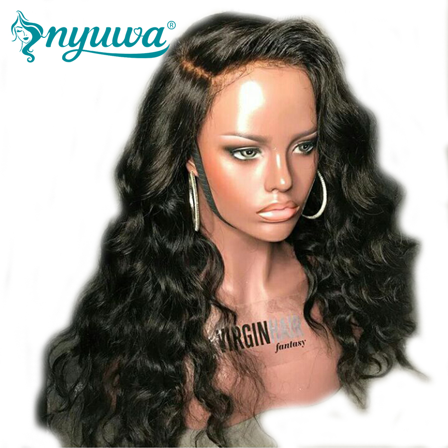 Pre Plucked Full Lace Human Hair Wigs For Women Natural Black Deep Wave Remy Hair Lace W ...