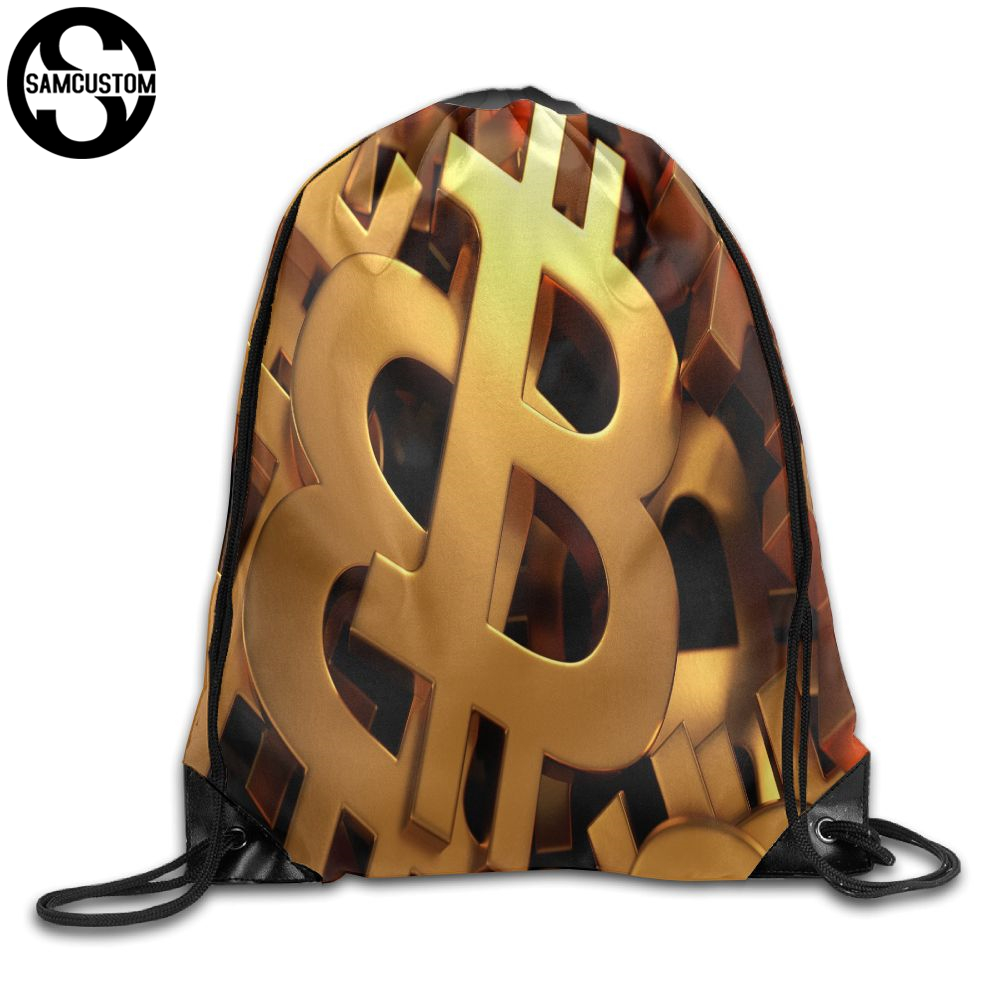 Samcustom Cryptocurrency Bitcoin Gold Shoulders Bag Fabric Backpack Men And Women Port Drawstring Travel Shoes Dust Storage Bags