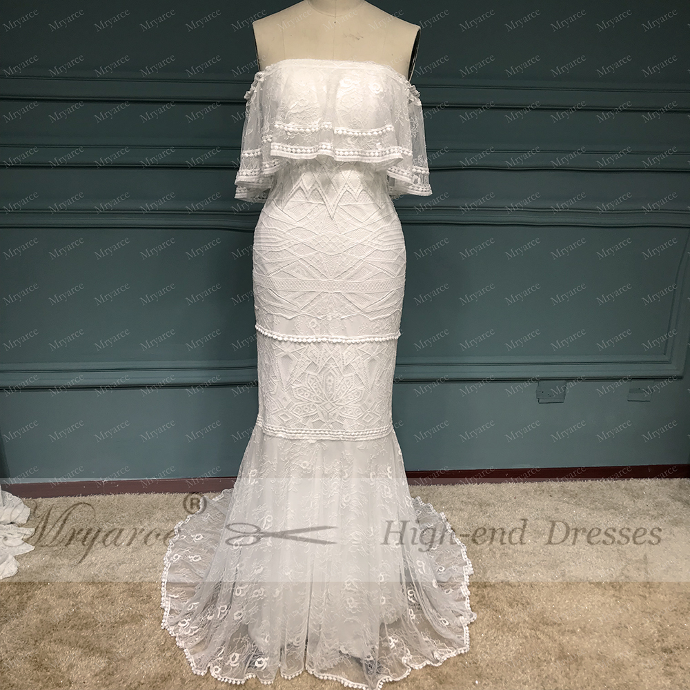 Mryarce 2019 Elegant Off The Shoulder Exclusive Lace Boho Hippie Wedding Dress Chic Bridal Mermaid Gowns vestido de noiva