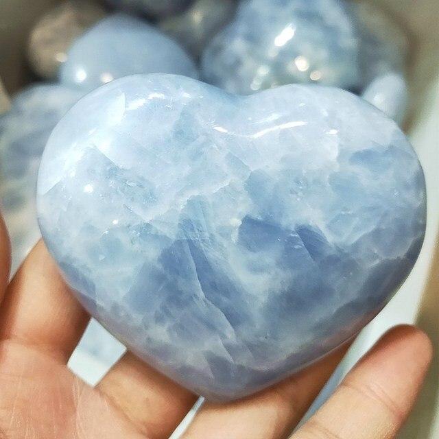 טבעי קריסטל לב יד celestite קוורץ אבני חן אבן צ 'אקרת לב איזון אספן גבישי רייקי ריפוי