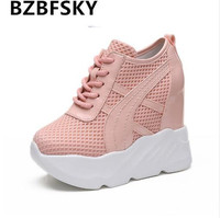 2018 New Fashion Women Air Mesh White Shoes Platform Lace Up Breathable Shoes 10CM High Increasing Casual Shoes For Lady Summer