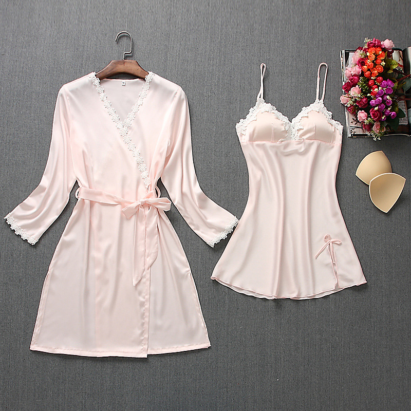 Fiklyc brand womens robe & gown sets mini nightdress + long sleeve bathrobe two-pieces female sexy floral lingerie nighties HOT 4