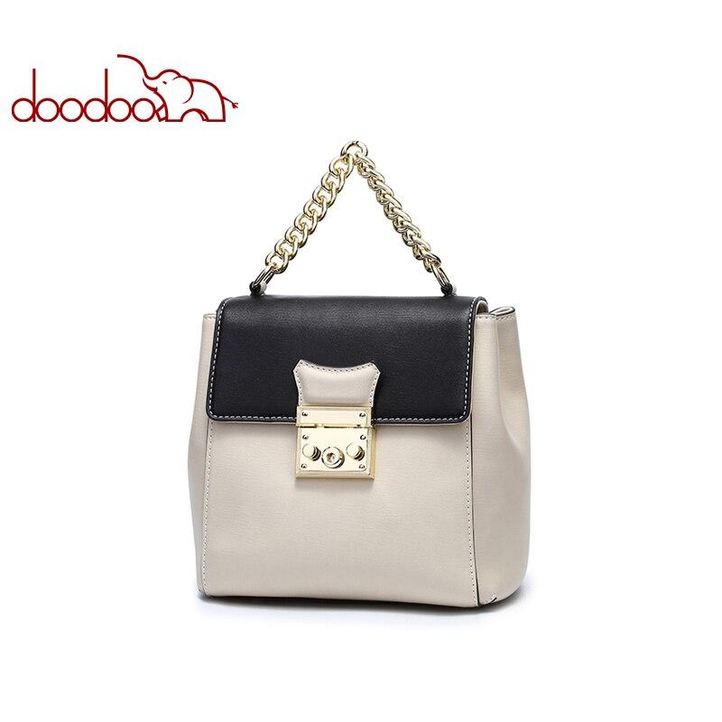 DOODOO Brand Fashion Backpack Mochila Feminina Women Bag Pu Leather Backpacks Chain Lock Design Handbags 2019