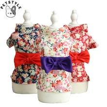 Весна, лето, домашний питомец кимоно для кошек, японский цветок вишни, мягкий дышащий костюм для животного, щенка, кошки, платья, одежда для маленьких собак