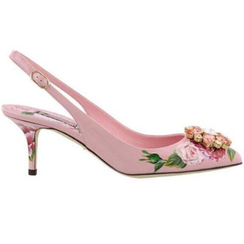 2019 Tacón De Nueva Flor Azul Hebilla Zapatos Del Alto Diamantes Estilete Mujer Sandalias Rosa Primavera Dulce rosado 0YSrTn0q