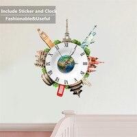 Famous Building Novelty Self Adhesive Wall Clock 3D Stickers Livingroom Sofa Background Home Decor Clock Fancy DIY Watch Horloge