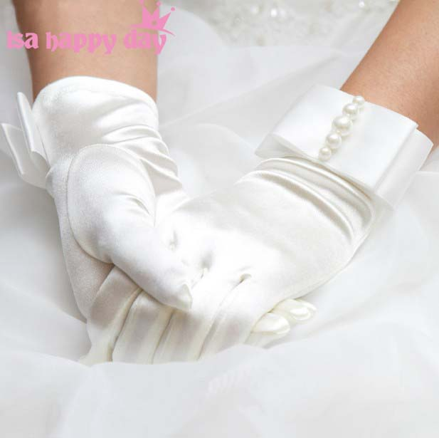 White Ivory Bridal Gloves Lace Finger Short Cheap Elegant Wedding Party Accessories Black Red Wrist Length Wedding Gloves