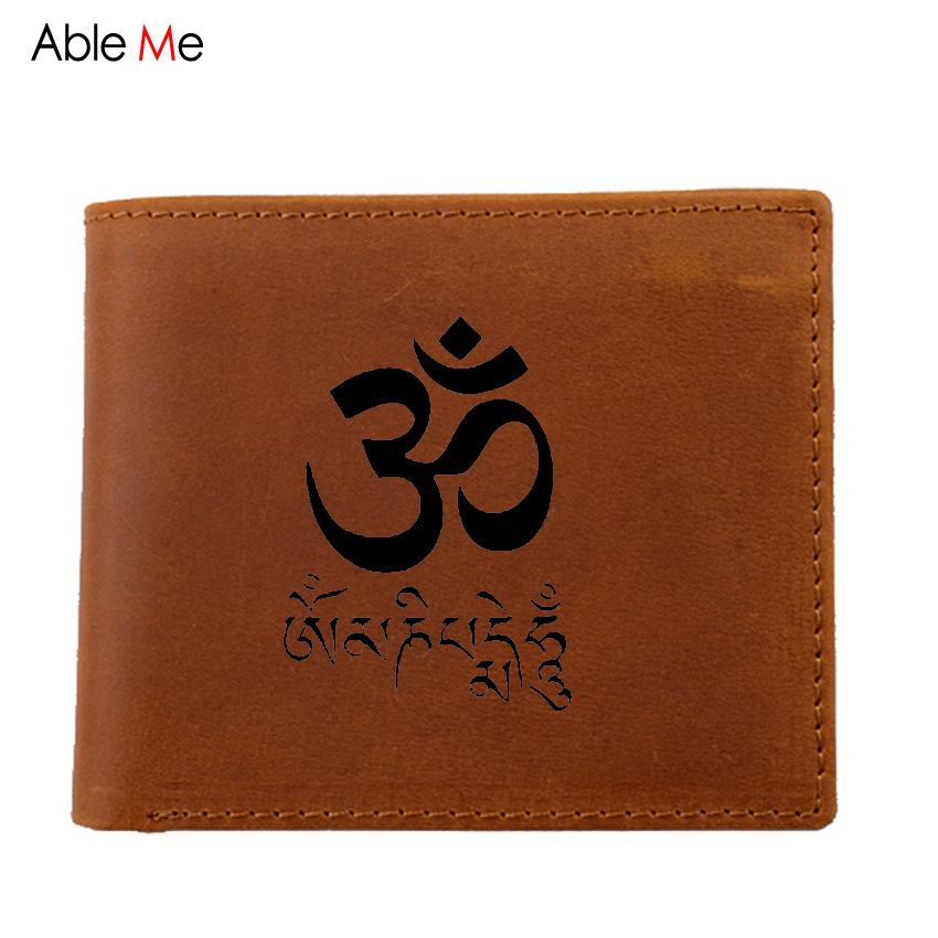 Mens Wallet High Quality Genuine Leather Wallets Handy Purse Custom Name JN BUDDHISM OM  Men Wallet With Zip Coin Pocket