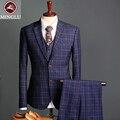 O Envio gratuito de Verificação Tecidos Terno Do Casamento 2017 Assuntos de Negócios Terno Do casamento Do Noivo Smoking Homem Terno Feito Sob Medida (jacket + pants + colete) S-2XL