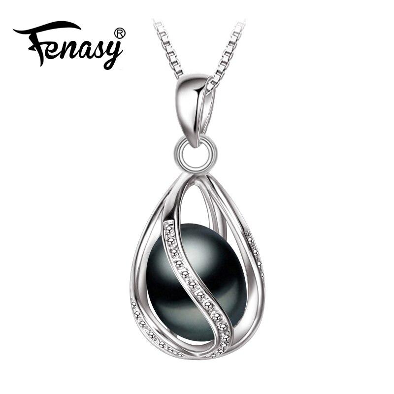 Fenasy продвижение черный жемчуг кулон AAAA модный Природный жемчужное ожерелье и кулон, розовый жемчужное ожерелье для женщин жемчужные украше...