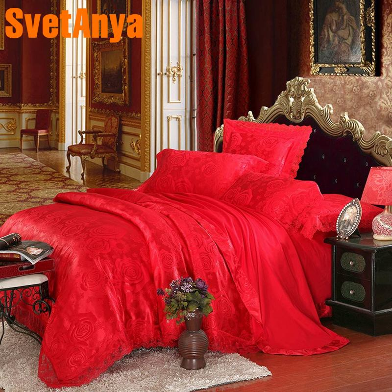 Svetanya 6in1 4in1 Bedding Sets red Rose Jacquard silky BedlinenSvetanya 6in1 4in1 Bedding Sets red Rose Jacquard silky Bedlinen