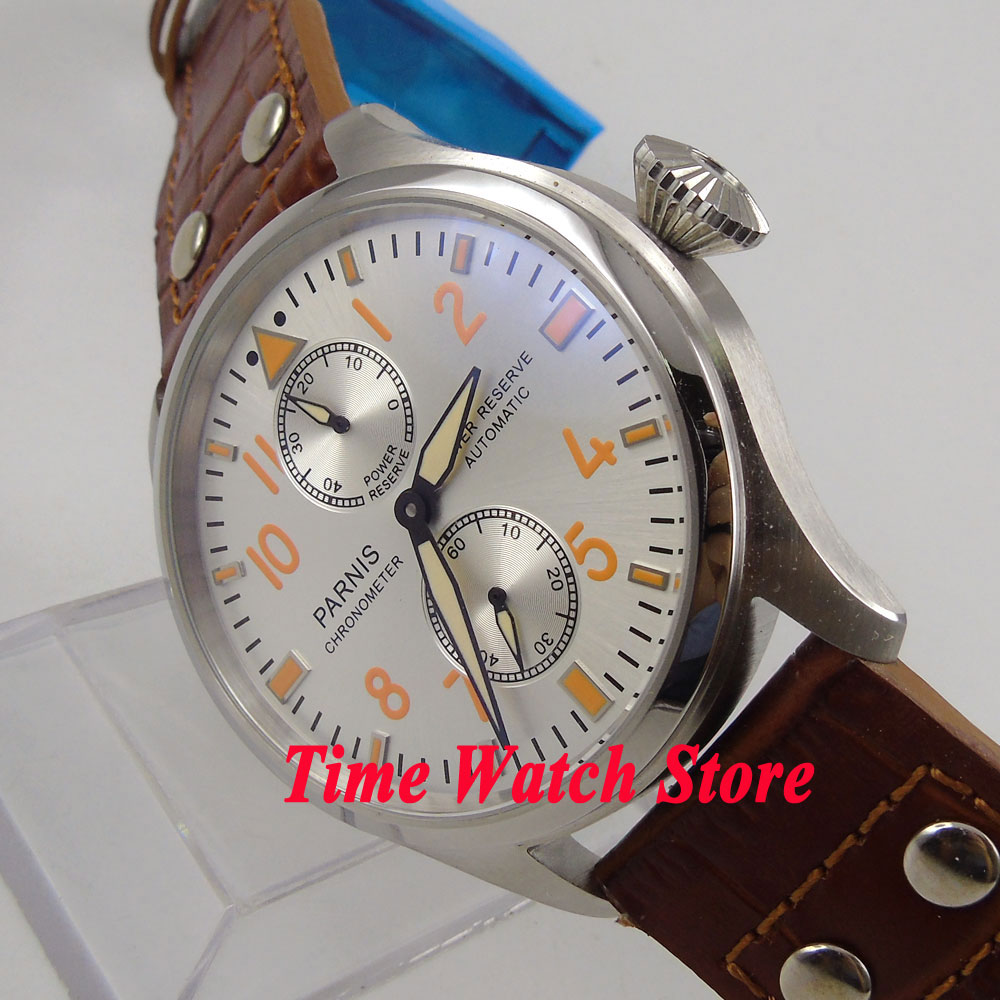Parnis watch 47mm white dial brown leather strap power reserve ST2542 Automatic Self Wind movement Men