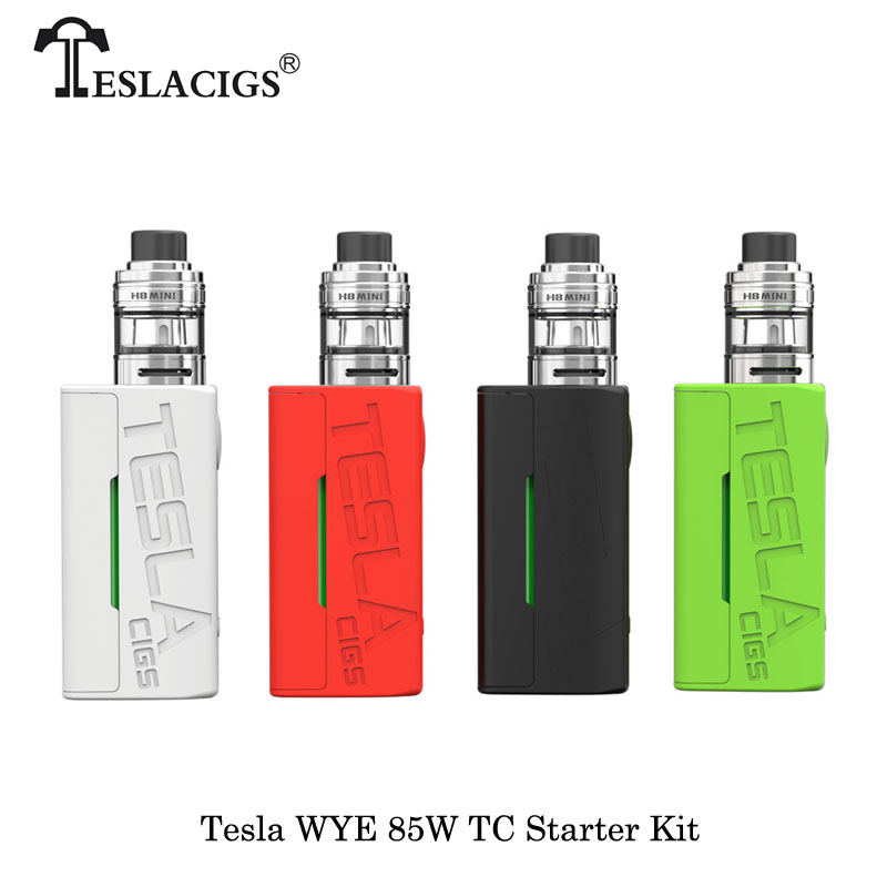 Electronic Cigarette Original Tesla WYE 85W Kit WYE 85W Box Mod Vape With 5ml H8 / 2ml H8 mini Atomzier ECig Kit Vaporizer Vaper цена