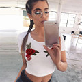 Durable 2017 Hot t-shirt  Women Sexy Embroidered flowers Halter Appliques Rose Short Sleeve Casual Shirt Vest Tops crop top