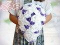 Roxo Com Rosa Branca Buquê De Noiva Cascata Homem Teardrop Noivas Flores Casamento buquê Cascata de mariee Mariage tombant