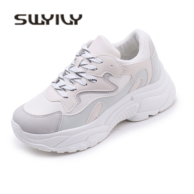 SWYIVY Woman Vulcanize Sneakers Shoes Platform 2018 New Ladies Casual Shoes  Mesh Breathable Comfortable Walk Sneakers cfc0ebd6c328