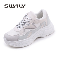 SWYIVY Woman Vulcanize Sneakers Shoes Platform 2018 New Ladies Casual Shoes Mesh Breathable Comfortable Walk Sneakers Hot Sale