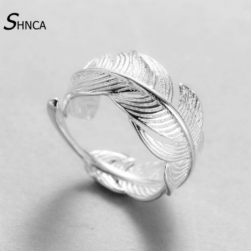 Genuine 100% 925 Sterling Silver Ring Vintage Fashion Feather Rings For Women Silver 925 Fine Jewelry Gift Adjustable R002