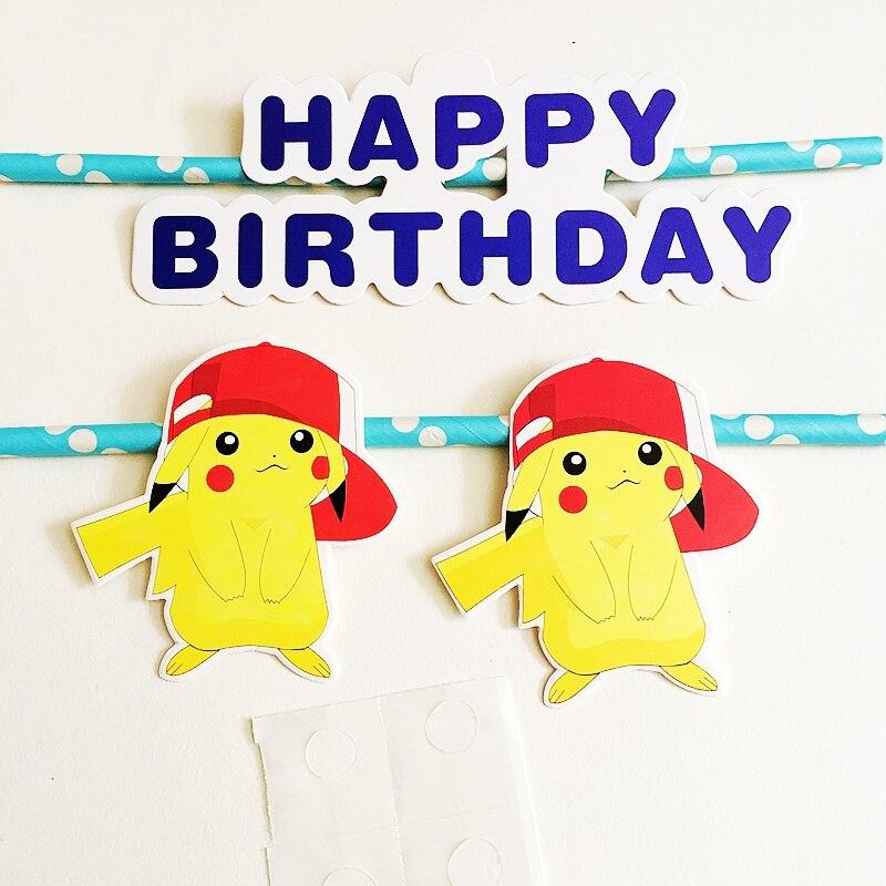 Heisse Neue Cartoon Pokemon Pikachu Kuchendeckel Pick Happy Birthday Brief Partei Hochzeitstag Dekoration Kind Kuchen Fahnen In