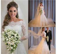Branco Vintage Lace Beading vestido de Noiva Do Pescoço Da Colher Lace Up Voltar Tulle Apliques Vestido de Noiva Com Destacável Saia Tamanho Personalizado