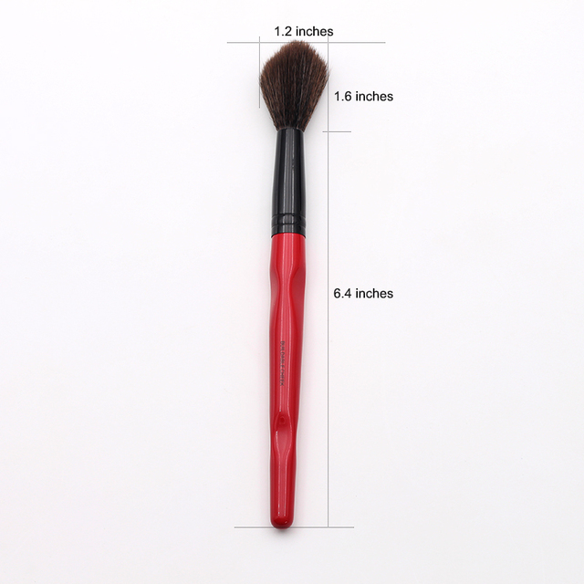 Classic Red Body Curve Plastic Long Handle Fluffy Synthetic Buildable Cheek Makeup Brush 2