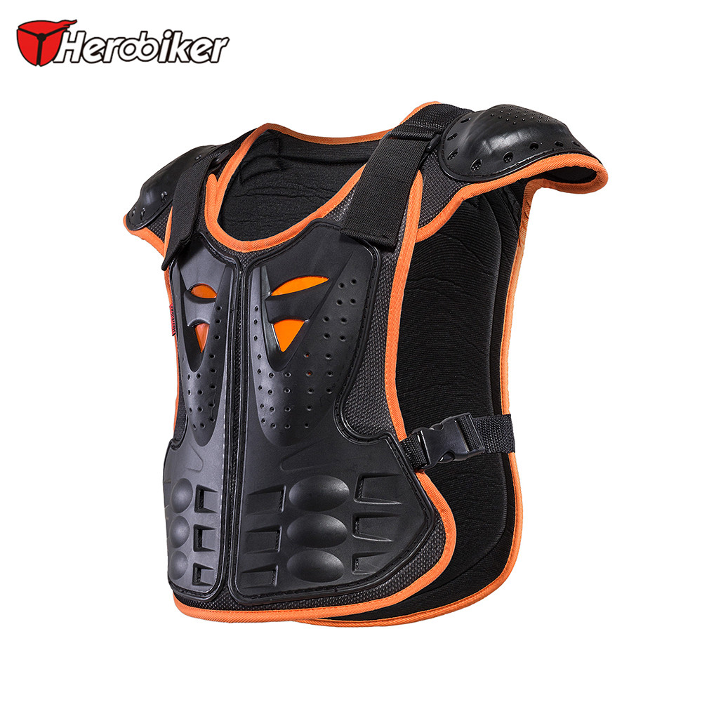 HEROBIKER Children Motorcycle Armor Vest for 4-12 Ages Kids Protective Gear Body Armor Moto Vest Motocross Protector Guards herobiker armor removable neck protection guards riding skating motorcycle racing protective gear full body armor protectors