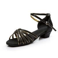 Girl Kids Women's Satin Latin   Dance     Shoes   Open Toe Indoor Suede Sole Low Heel Ballroom Party Tango Salsa Dancing Sandals