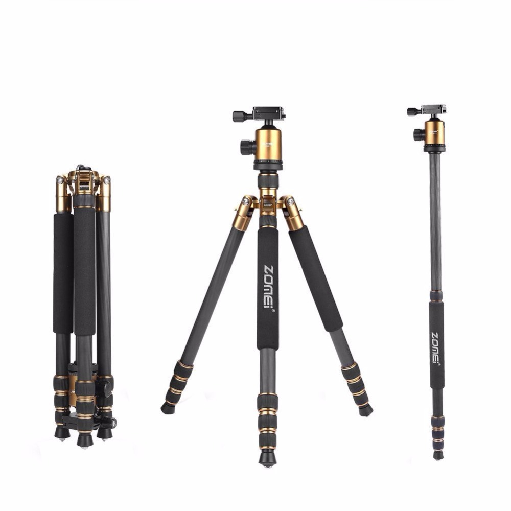 Z818C Portable travel tripod 3 Way Ball Head Carbon fiber Camera Tripod Stand for Canon Nikon