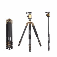 ZOMEi Z818C Gold Professional Flexible Carbon Fiber Camera Tripod Stand Holder With Monopod For Canon Nikon