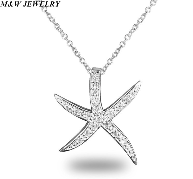M&W JEWELRY Hot Selling Jewelry Brand Necklace Fashion Starfish Pendant Necklace for Women Free Shipping