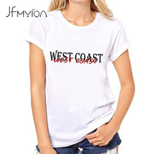 Kawaii WEST COAST printed summer t shirt women tops short sleeve o-neck white t-shirt letters clothing for women tees plus size