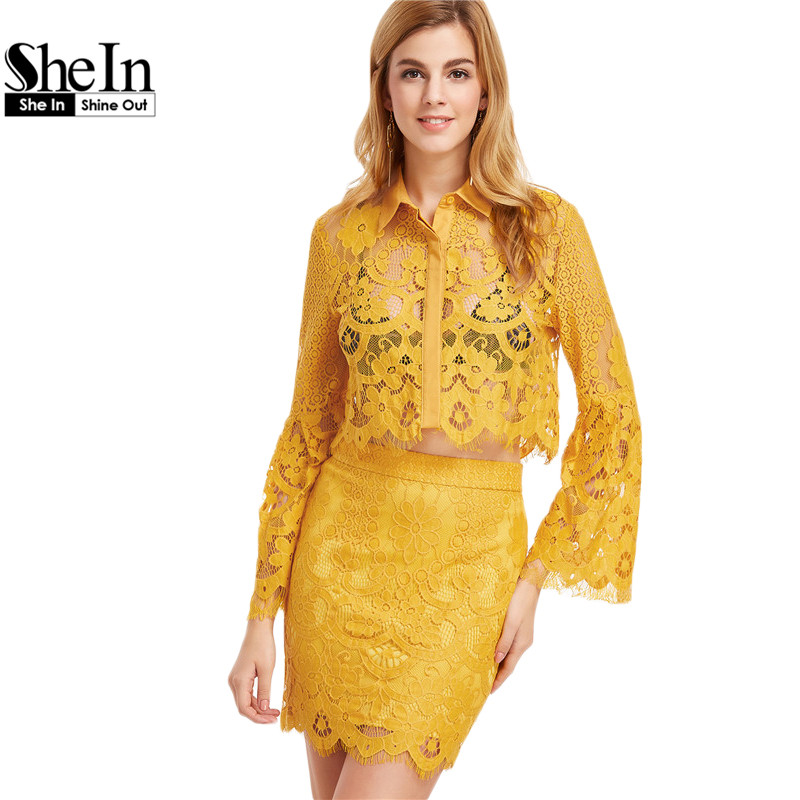 983114e73434 SheIn 2 Piece Set Women Elegant Suits for Women Yellow Lapel Flare Sleeve  Floral Lace Crop Blouse With Bodycon Skirt-in Women's Sets from Women's  Clothing & ...